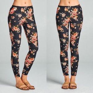 Floral Leggings Stretch Lounge Pants Black 0118